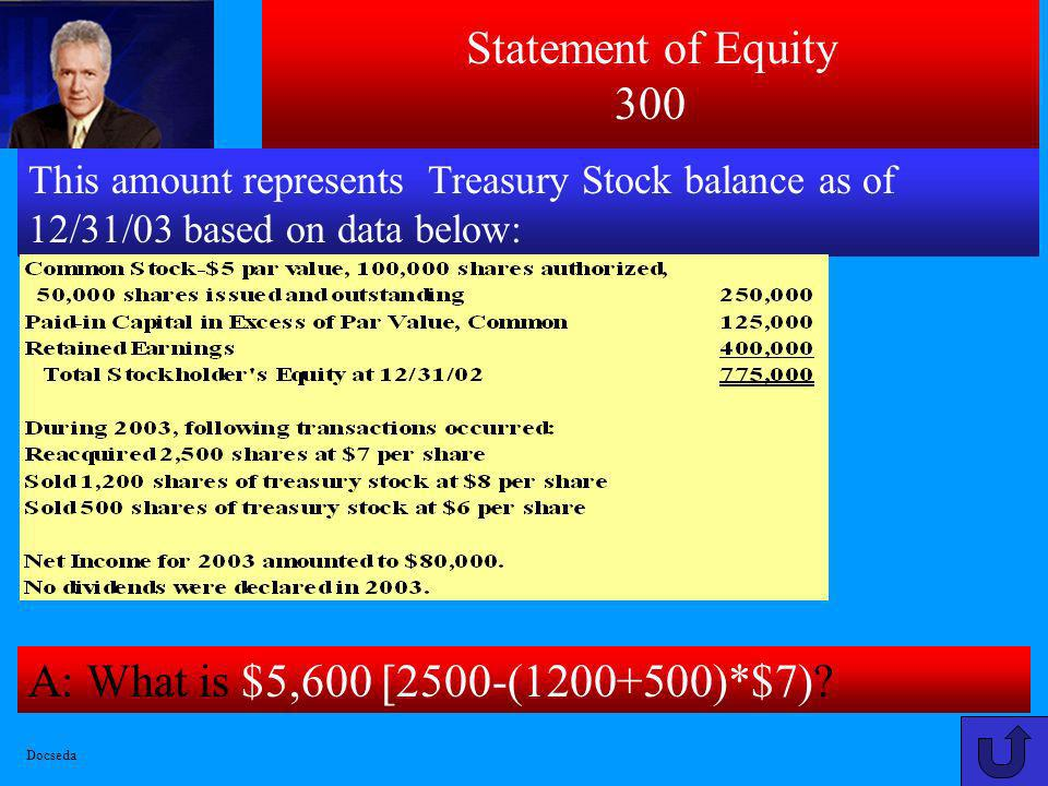 Statement of Equity 300 A: What is $5,600 [2500-(1200+500)*$7)